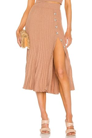 Bardot Pleat Button Skirt in - Tan. Size L (also in S, XS, M).