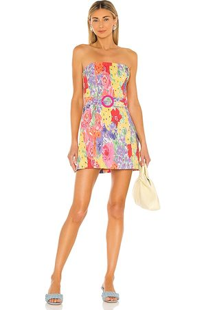 Amanda Uprichard Fae Dress in - Pink,Yellow. Size L (also in S, M, XS).