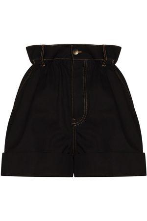 Miu Miu Senhora Calções - Paperbag-waist cotton shorts