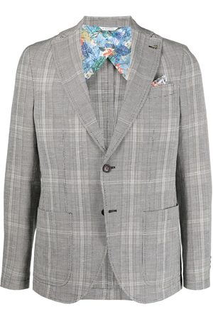 Manuel Ritz Homem Blazers - Patchwork single-breasted blazer