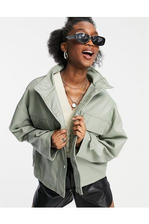 ASOS Oversized chuck on faux leather jacket in sage-Grey
