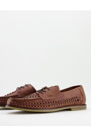Truffle Collection Faux leather woven lace up shoes in brown