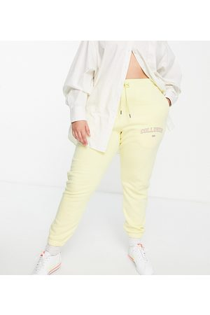 COLLUSION Joggers - Plus exclusive varsity print skinny jogger in yellow