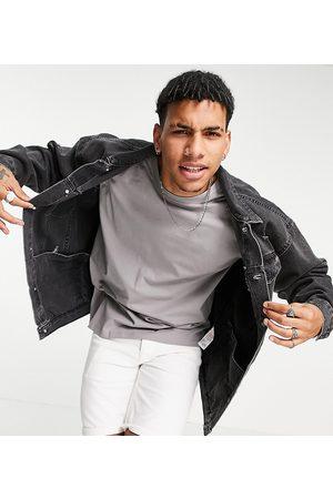 New Look Oversized denim jacket in mid grey