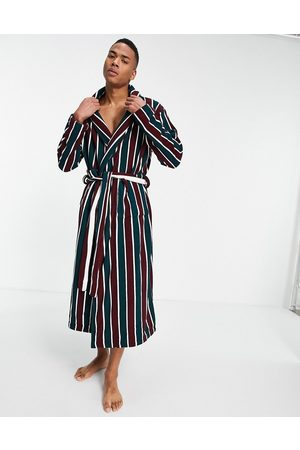 ASOS Homem Conforto - Lounge dressing gown in multi striped towelling