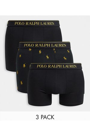 Polo Ralph Lauren Homem Meias - X ASOS exclusive collab 3 pack trunks in black/gold with all over pony logo