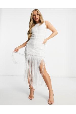 ASOS High neck grid mesh fringe hem midi dress in white