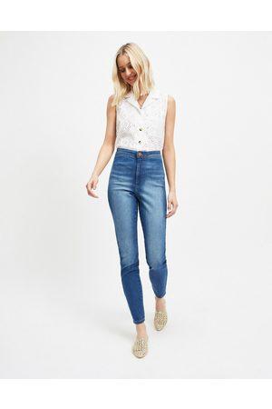Miss Selfridge Steffi tall super high waist skinny jeans in mid wash blue