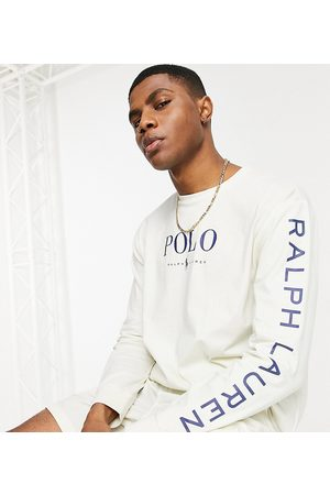 Polo Ralph Lauren X ASOS exclusive collab long sleeve t-shirt in cream with chest and arm logo-White