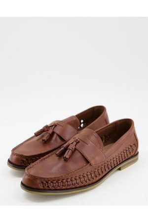 Truffle Collection Faux leather woven tassel loafers in tan-Brown