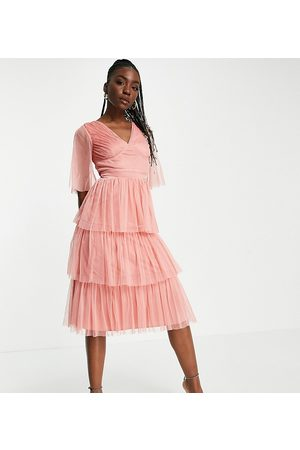 Anaya Tall Anaya With Love Tall flutter sleeve midi dress in coral-Pink