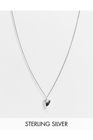 ASOS Sterling silver skinny neckchain with tooth pendant in burnished silver