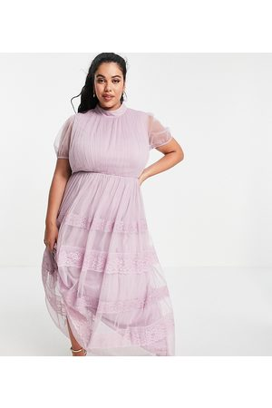 ANAYA Anaya with Love Plus high neck maxi dress with tiered lace and tulle skirt in lilac-Purple