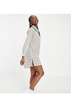 Missguided Green check dip back oversized shirt dress