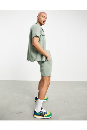 JAMESON CARTER Granville textured woven shorts in olive-Green