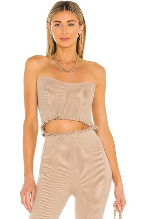 MAJORELLE Senhora Tops de Cavas - Cropped Sweetheart Ribbed Tube Top in - . Size M (also in XS, S).