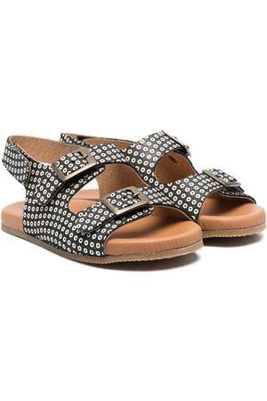PèPè Motif print buckled sandals