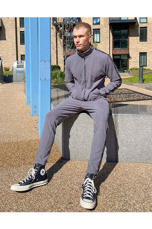 Mauvais Rib track joggers with tape in grey-Green