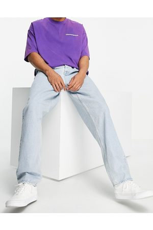 ASOS Baggy jeans with double pleat and elastic waist detail-Blue