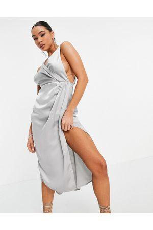 Yaura Wrap midi dress with chain strap detail in grey
