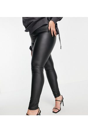 Outrageous Fortune Leather look leggings in black