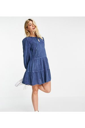Wednesday's Girl Mini smock dress with tiered skirt in denim-Blue