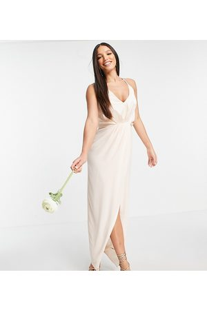 TFNC Bridesmaid satin halterneck top maxi dress in light blush-White