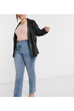 ASOS Mulher Stretch - ASOS DESIGN Curve high rise '70's' stretch flare jeans in vintage midwash-Blue
