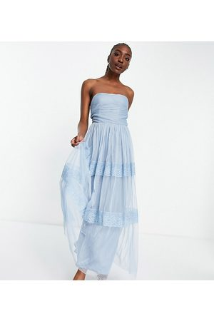 ANAYA Anaya with Love Tall strapless midaxi dress with tiered skirt in pale blue embossed tulle