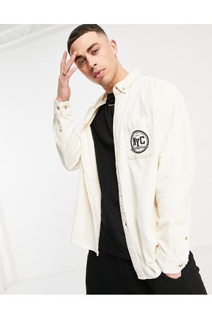 ASOS 90s oversized cord shirt in ecru with NYC embroidery-Neutral