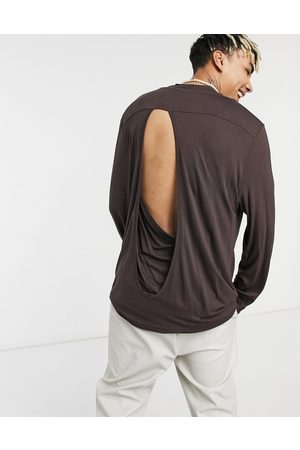 ASOS Relaxed fit long sleeve viscose t-shirt with back detail in beige-Neutral