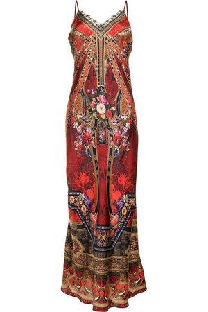 Camilla Senhora Vestidos de Festa - Graphic-print silk slip maxi dress