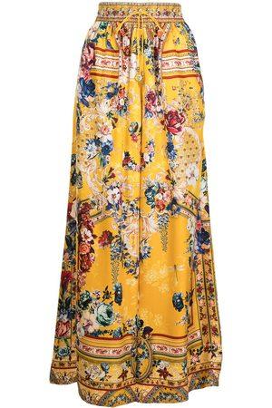 Camilla Senhora Calças à Boca-de-sino - Floral wide-leg silk trousers