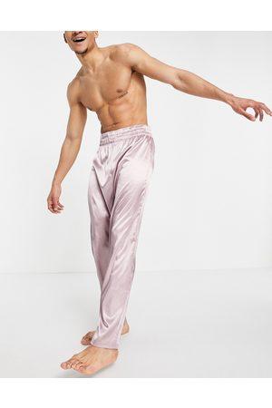 ASOS DESIGN Homem Calças - Lounge satin trousers in mauve-Purple