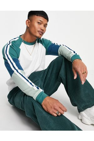 ASOS Organic relaxed long sleeve t-shirt with colour block sleeves-White
