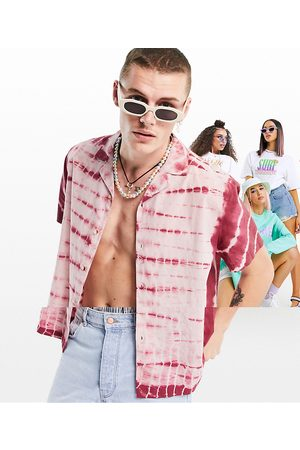 ASOS Homem Casual - Relaxed fit cotton tie dye shirt in pink