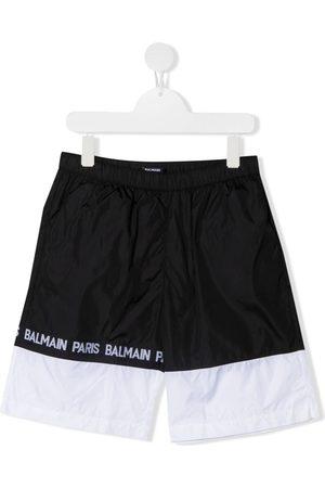 Balmain Logo tape colour block swim shorts
