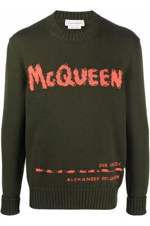 Alexander McQueen Homem Camisolas - Graffiti intarsia-knit jumper