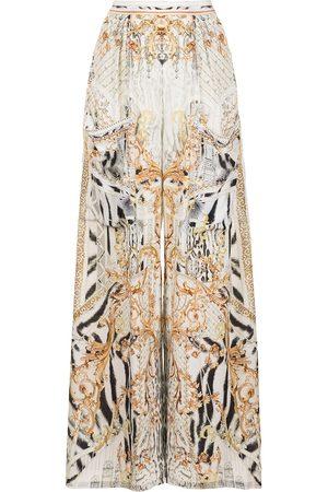Camilla Gates of Glory-print wide-leg trousers