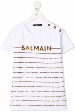 Balmain Sequin logo stripe T-shirt