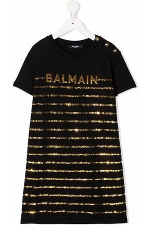 Balmain Sequinned-logo cotton dress