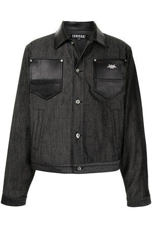 SANKUANZ Leather-trimmed denim jacket