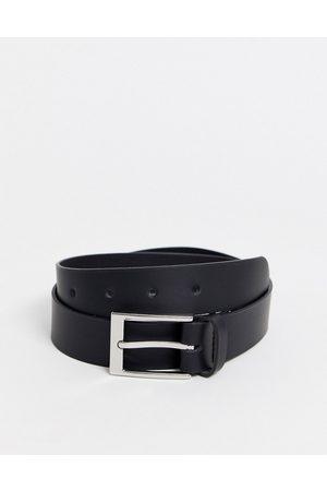 ASOS Senhora Cintos - Leather silver buckle waist and hip jeans belt in black