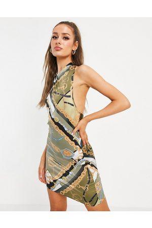 ASOS Senhora Vestidos de Festa - Halter neck satin mini dress in scarf print-Multi