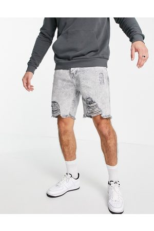 Good For Nothing Homem Calções - Denim shorts in light grey acid wash with heavy distressing