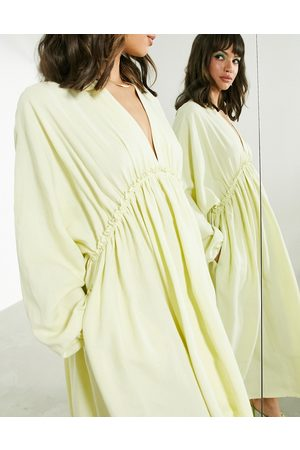 ASOS Gathered waist batwing midi dress in washed lime-Yellow