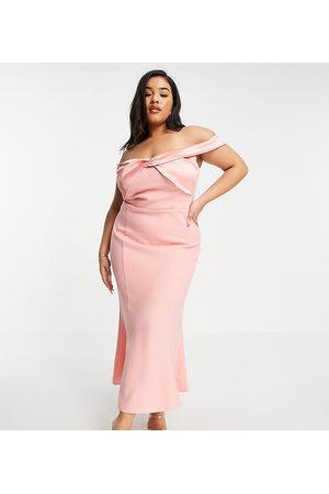 Yaura Plus Senhora Vestidos de Festa - Bardot column midaxi dress in pink