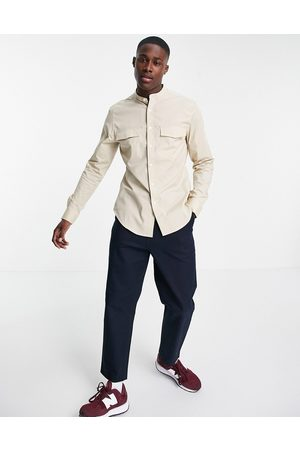 ASOS DESIGN Slim fit shirt with pocket detail and grandad collar in stone-Neutral