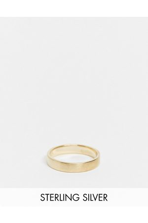 ASOS DESIGN Sterling silver band ring in brushed in 14k gold plate