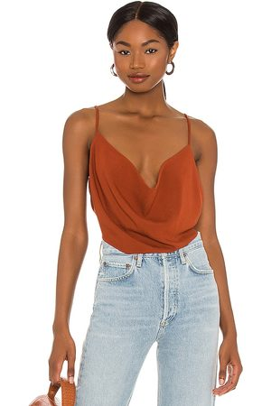 Indah Polina Solid 70s Cowl Neck Cami in - Rust. Size M/L (also in XS/S, S/M).